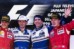 Winner Damon Hill, Williams, Adrian Newey, Williams, second place Michael Schumacher, Ferrari, third