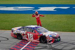 Kyle Busch, Joe Gibbs Racing, Toyota Camry Skittles Red White & Blue celebrates after winning