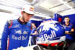 Pierre Gasly, Toro Rosso, examines his crash helmet