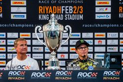 Winner David Coulthard and Petter Solberg in the press conference