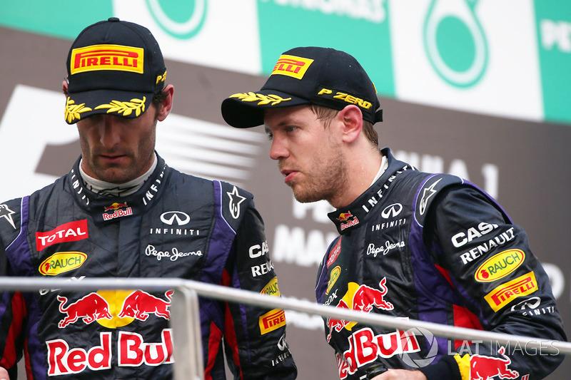 Le vainqueur Sebastian Vettel, Red Bull Racing, le deuxième Mark Webber, Red Bull Racing