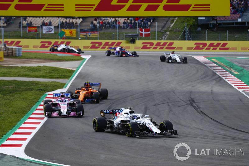 Lance Stroll, Williams FW41, Sergio Perez, Force India VJM11, Stoffel Vandoorne, McLaren MCL33, Marcus Ericsson, Sauber C37