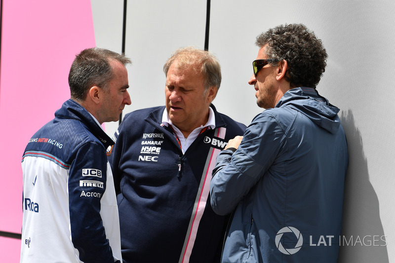 Paddy Lowe, Williams Shareholder and Technical Director, Robert Fearnley, Force India F1 Team Deputy Team Principal and Anthony Rawlinson, Jopurnalist