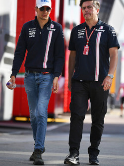 Esteban Ocon, Force India F1 and Andy Stevenson, Force India F1 Team Manager