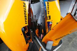 McLaren bodywork outside of the team's pit garage