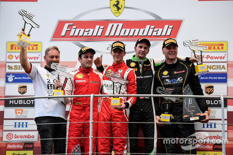 Podium: Race winner #11 Formula Racing Ferrari 488: Nicklas Nielsen, second place #8 Octane 126 Ferr
