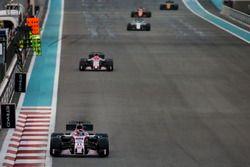 Sergio Perez, Force India VJM10, leads Esteban Ocon, Force India VJM10