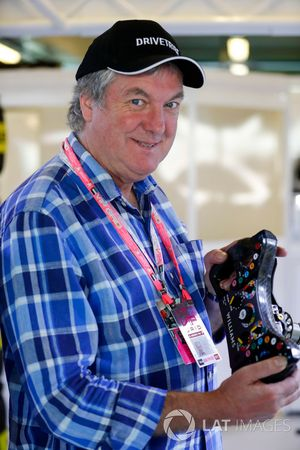 Television presenter James May in the Williams F1 garage