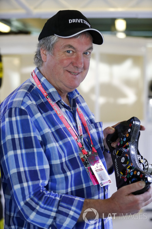 Television Presenter James May In The Williams F1 Garage border=
