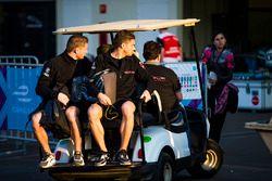 Maro Engel, Venturi Formula E Team & Edoardo Mortara, Venturi Formula E Team. arrive on a golf cart