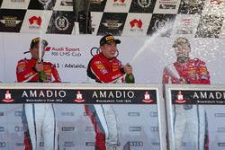 Podium: race winner Andrew Haryanto, second place Yasser Shahin, third place Theo Koundorious