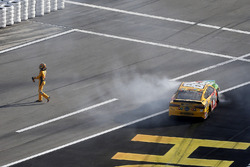 Kyle Busch, Joe Gibbs Racing Toyota exits his car after a crash