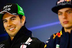 Sergio Pérez, Force India, Max Verstappen, Red Bull Racing, en la conferencia de prensa