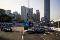 Daniel Abt, Audi Sport ABT Schaeffler leads Mitch Evans, Jaguar Racing & Alex Lynn, DS Virgin Racing