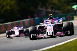 Esteban Ocon, Force India VJM11, leads Sergio Perez, Force India VJM11