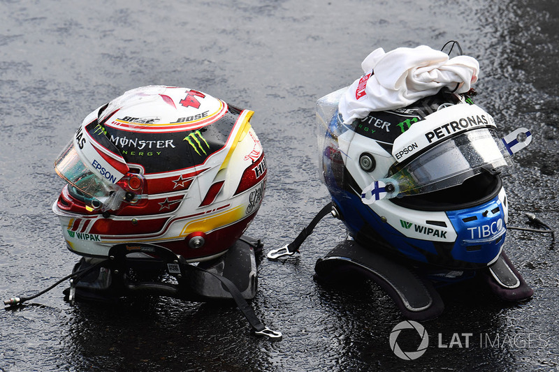The helmets of Lewis Hamilton, Mercedes-AMG F1 and Valtteri Bottas, Mercedes-AMG F1 in parc ferme