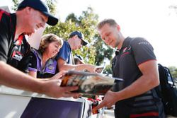 Kevin Magnussen, Haas F1 Team, signs an autograph