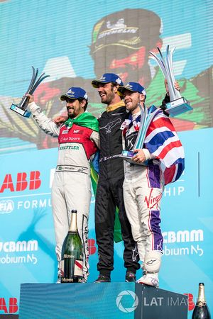 Jean-Eric Vergne, Techeetah, celebrates on the podium with Lucas di Grassi, Audi Sport ABT Schaeffle