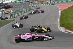 Sergio Perez, Force India VJM11 en tête-à-queue