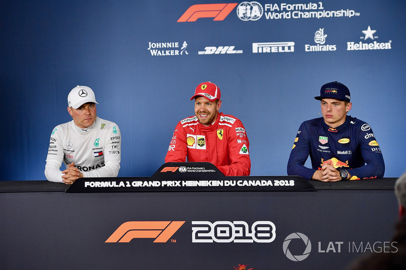 Valtteri Bottas, Mercedes-AMG F1, Sebastian Vettel, Ferrari and Max Verstappen, Red Bull Racing in p