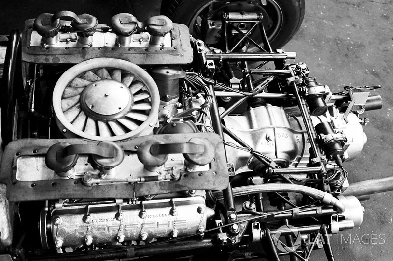 The air,cooled Flat Eight engine that powered the Porsche