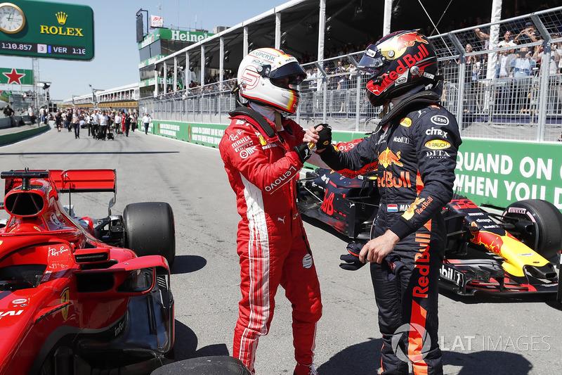 El hombre de la pole, Sebastian Vettel, Ferrari y Max Verstappen, Red Bull Racing