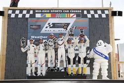 GTLM podium: #25 BMW Team RLL BMW M8, GTLM: Alexander Sims, Connor de Phillippi, #912 Porsche Team North America Porsche 911 RSR, GTLM: Laurens Vanthoor, Earl Bamber, #3 Corvette Racing Chevrolet Corvette C7.R, GTLM: Antonio Garcia, Jan Magnussen, podium, Bib, Michelin
