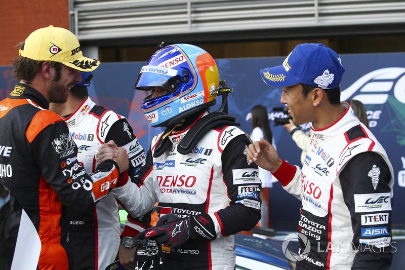 Winners Fernando Alonso, Kazuki Nakajima, Sébastien Buemi, Toyota Gazoo Racing, Jean-Eric Vergne