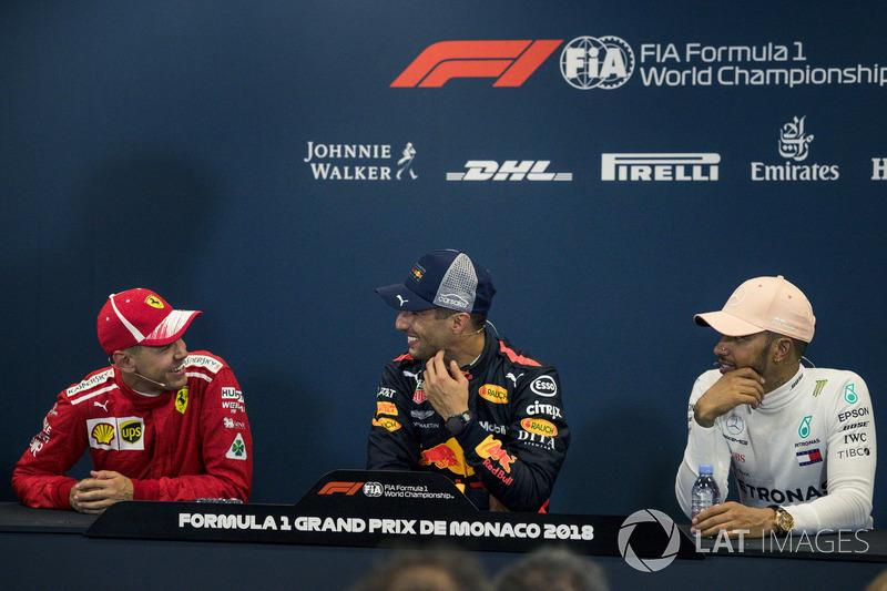 Sebastian Vettel, Ferrari, Daniel Ricciardo, Red Bull Racing, Lewis Hamilton, Mercedes-AMG F1
