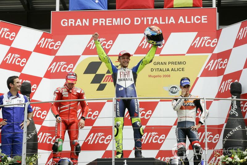 Podio: 1º Valentino Rossi, 2º Casey Stoner, 3º Dani Pedrosa