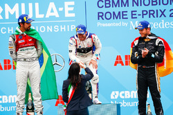 Sam Bird, DS Virgin Racing, ,wins the Rome ePrix, with Lucas di Grassi, Audi Sport ABT Schaeffler, in 2nd, Andre Lotterer, Techeetah, in 3rd