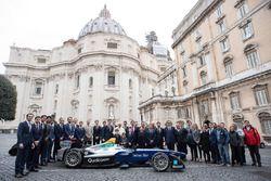 Group photo with Pope Francis, Alejandro Agag, CEO, Formula E
