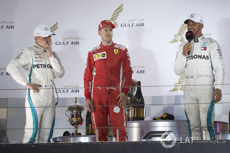 Valtteri Bottas, Mercedes AMG F1, drugi na mecie, Sebastian Vettel, Ferrari, zwycięzca i Lewis H