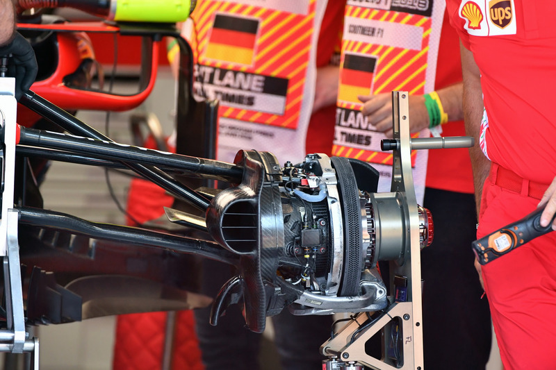 Ferrari SF71H front brake and wheel hub detail