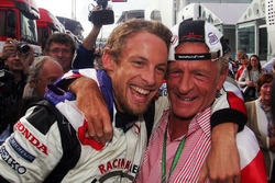 Race winner Jenson Button, Honda celebrates his win with his Father John Button