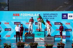 Daniel Abt, Audi Sport ABT Schaeffler,Lucas di Grassi, Audi Sport ABT Schaeffler, Sébastien Buemi, Renault e.Dams, celebrate on the podium after the race