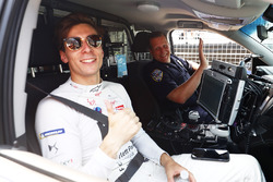 Alex Lynn, DS Virgin Racing, gets a ride with New York City police
