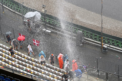 Torrential rain after the race