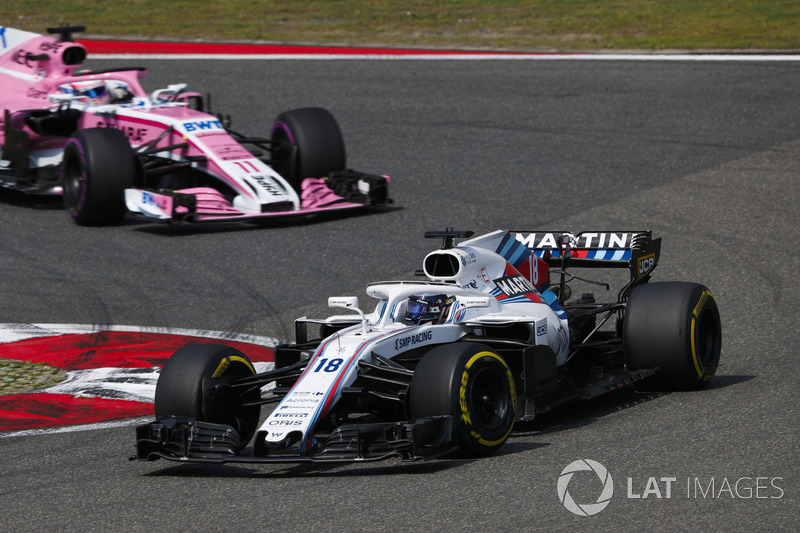 Lance Stroll, Williams FW41 Mercedes, leads Sergio Perez, Force India VJM11 Mercedes