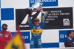 Johnny Herbert celebrates 1st position on the podium