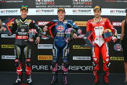 Polesitter Alex Lowes, Pata Yamaha, second place Jonathan Rea, Kawasaki Racing, third place Xavi Fores, Barni Racing Team