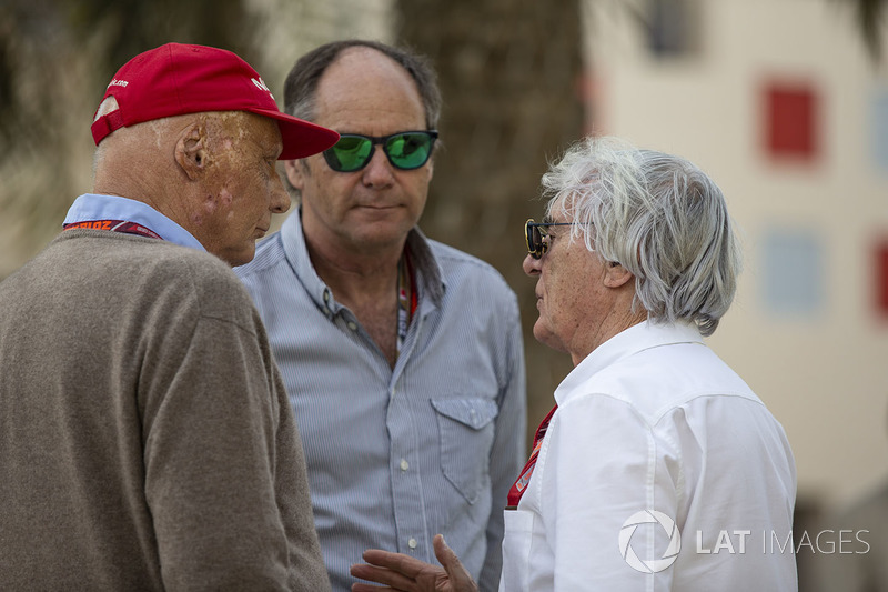 Niki Lauda, Mercedes AMG F1 Non-Executive Chairman, Gerhard Berger, and Bernie Ecclestone