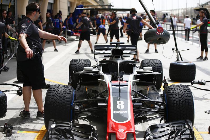 Car of Romain Grosjean, Haas F1 Team VF-18 Ferrari, in the pit lane