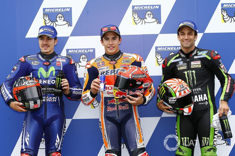 Pole pozisyonu Marc Marquez, Repsol Honda Team, 2. sıra Maverick Viñales, Yamaha Factory Racing, 3. sıra Johann Zarco, Monster Yamaha Tech 3