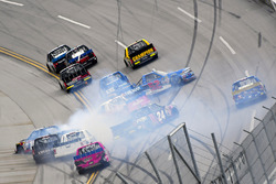 Justin Haley, GMS Racing Chevrolet wrecks