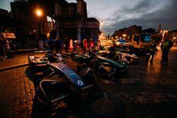 Cars of Sébastien Buemi, Renault e.Dams, Nelson Piquet Jr., Jaguar Racing, Lucas di Grassi, Audi Spo