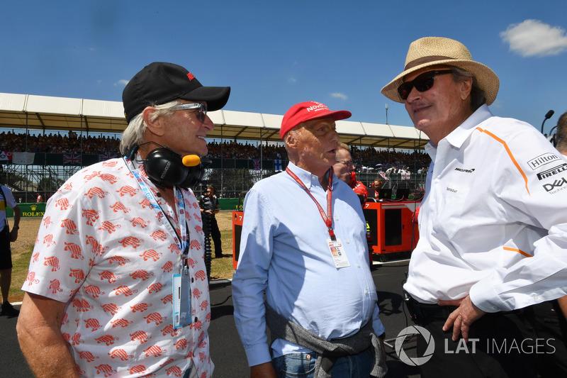 Mansour Ojjeh, McLaren, Niki Lauda, Presidente Non Esecutivo Mercedes AMG F1 e Michael Douglas, in griglia