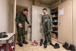 Christophe Tinseau prepares for a French Air Force fighter pilot ridealong