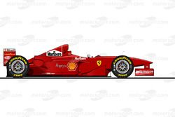 La Ferrari F300 pilotée par Michael Schumacher en 1998<br/> Reproduction interdite, exclusivité Moto