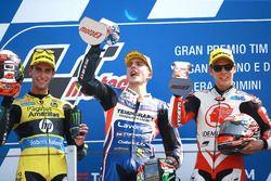 Podium : le deuxième, Alex Rins, Paginas Amarillas HP 40, le vainqueur Lorenzo Baldassarri, Forward Racing, le troisième, Takaaki Nakagami, Honda Team Asia